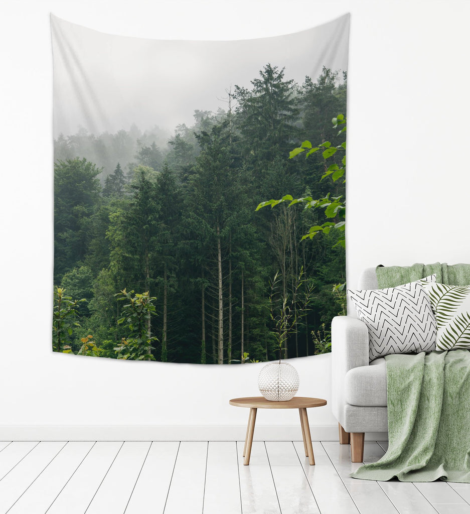 Rainy Forest Photo Tapestry for Hikers and Nature Lovers, Tree Wall Hanging | Brandless Artist