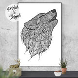 Wolf Print | Howling Wolf Drawing Wilderness Poster | Black and White Drawing of a Wolf Art Print | Bohemian Wolf Doodle Poster - Brandless Artist