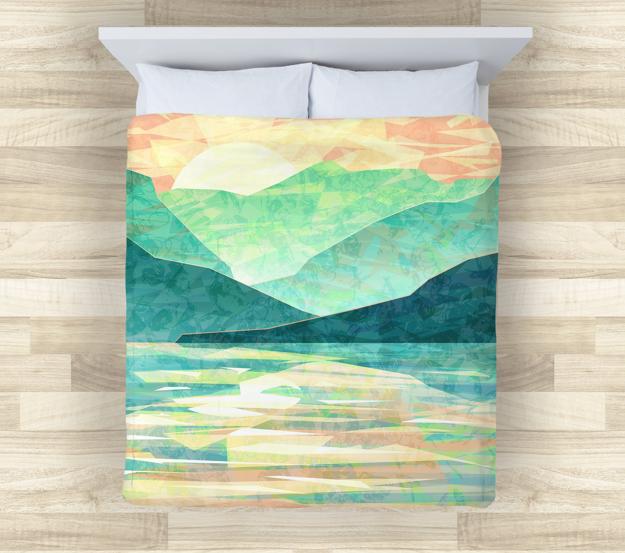 Green Mountain Bedding Set | Emerald Abstract Comforter or Duvet Cover Set | japan Mountain Duvet Cover | Abstract Mountain Comforter - Brandless Artist