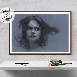 Edwardian Girl Print Pencil Drawing Art Print by Thubakabra, Surreal Pencil Art - Brandless Artist