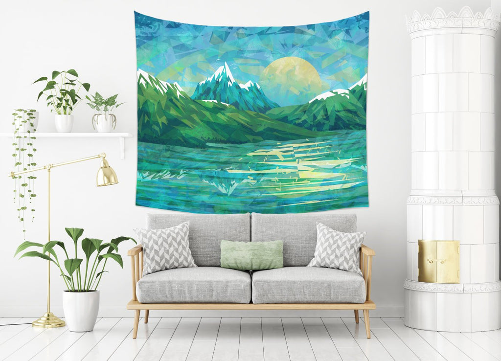 Blue Mountain Tapestry Intense Modern Wall Hanging for Bedroom | Brandless Artist
