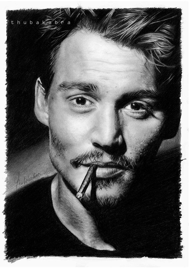 Johnny Depp Print | Johnny Depp Pencil Portrait Poster | Black and White Johnny Depp Poster | Depp Portrait Fanart Drawing Print - Brandless Artist