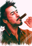 Robert Downey Poster | Colorful Downey Painting Fan Art Wall Hanging | Huge Downey JR with Cigar Poster for Fans - Brandless Artist