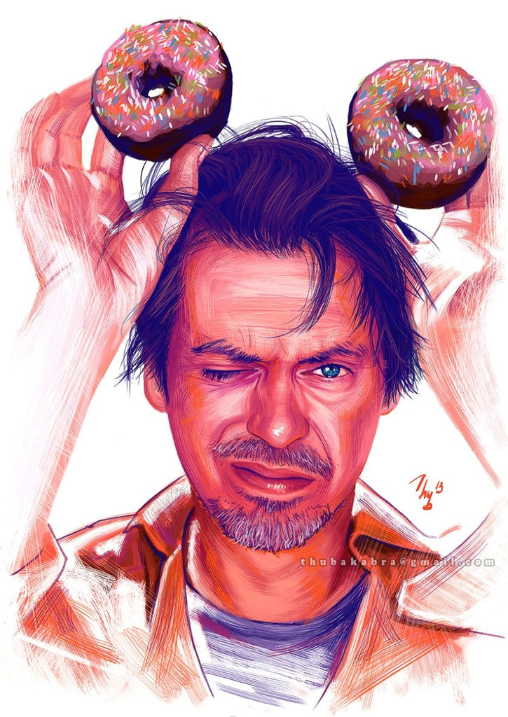 Steve Buscemi Print | Funny Buscemi Poster with Donuts Man Cave Decor | Funny Comedian Poster | Buscemi Fanart Poster - Brandless Artist