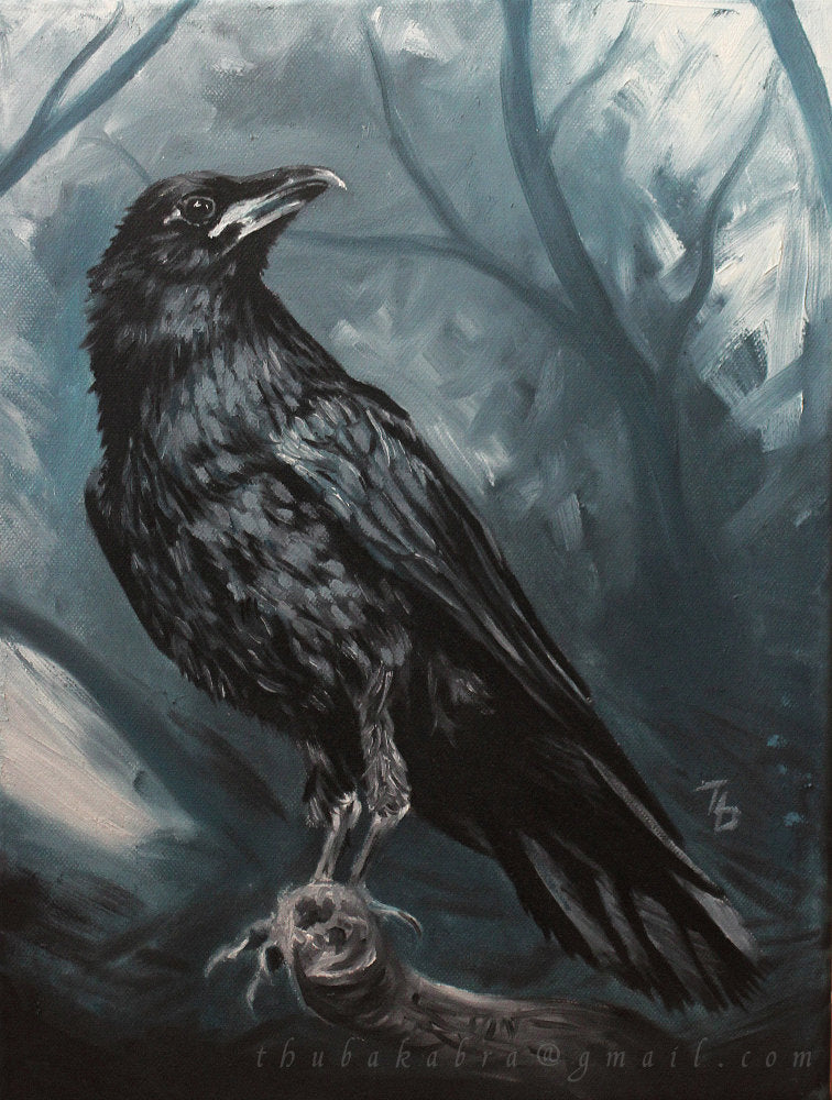 Raven Painting PRINT of Painted Raven Art, Raven Art Print, Traditional Oil Painting GICLEE PRINT, Black Bird, Blue Painting, Noble Animal - Brandless Artist