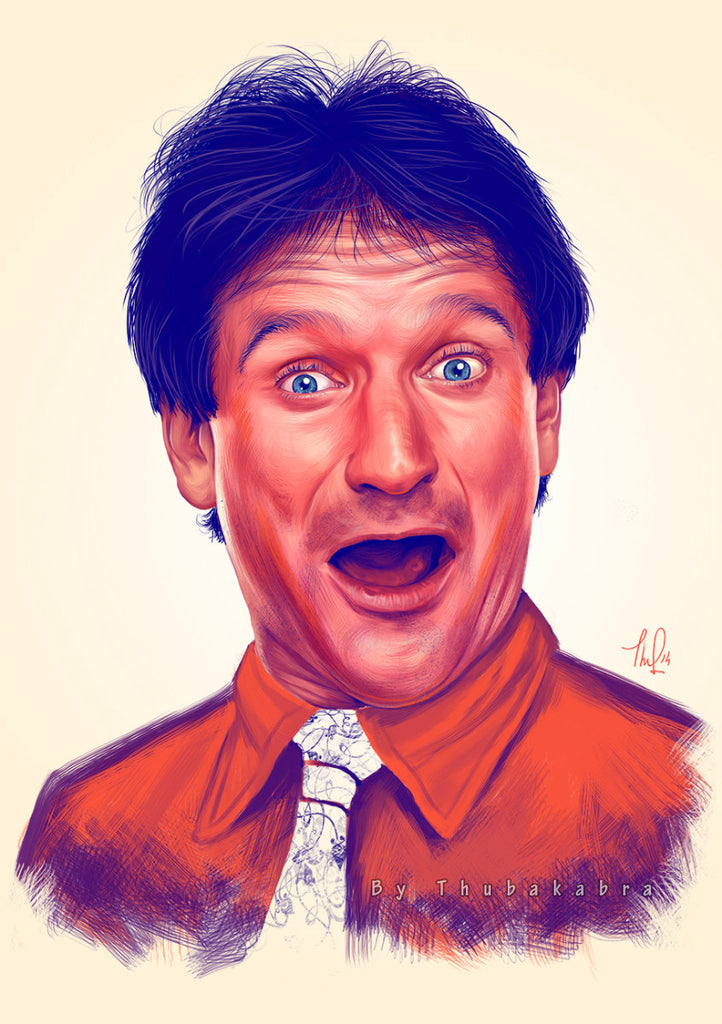 Robin Williams Print | Happy Robin Williams Portrait Poster | Robin Williams Fanart Wall Art Man Cave Decor | Funny Portrait of Williams - Brandless Artist
