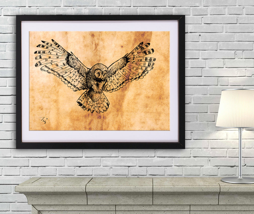 Owl drawing art PRINT, animal ink drawing on old paper, GICLEE PRINT, flying owl poster, owl wings illustration print, wild bird poster - Brandless Artist