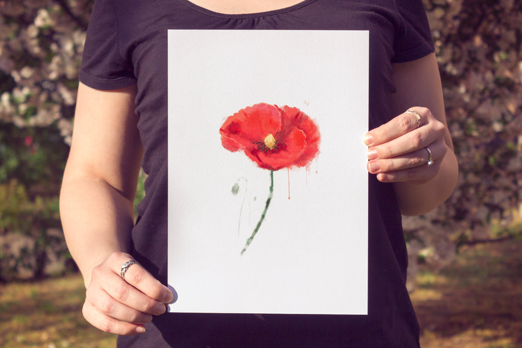 Red Poppy Print | Watercolor Poppy Art Poster | Large Floral Wall Decor for Her | Vivid Poppy Painting Wall Art for Flower Lovers - Brandless Artist