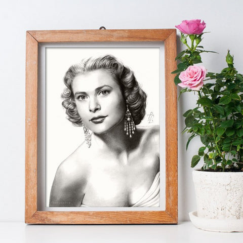 Vintage Art Poster | Grace Kelly Black and White Art Print | Wall Art Decor | Golden Era Poster Large Wall Art - Brandless Artist