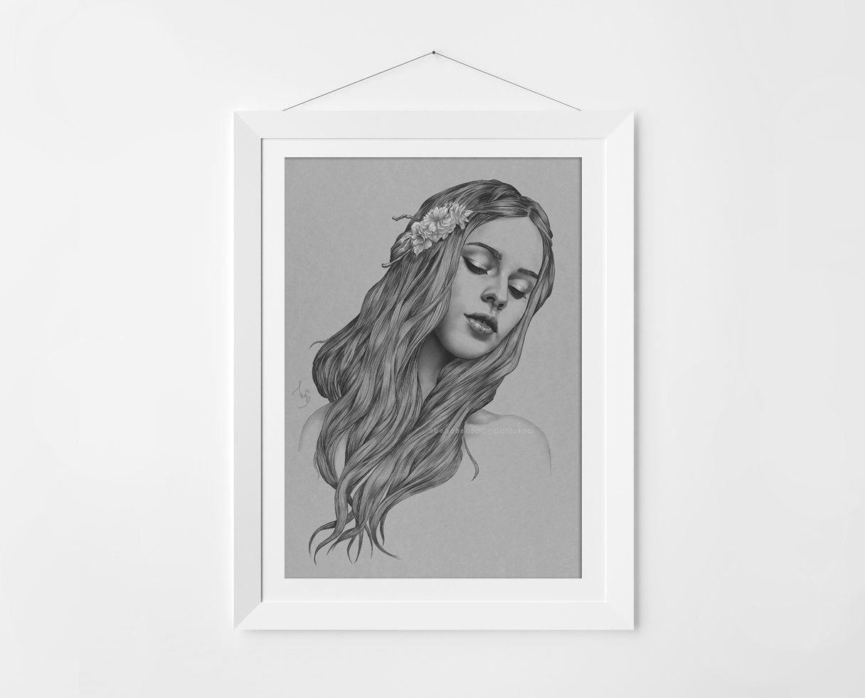 Art Print by Thubakabra Surreal Portrait of a Girl, Black and White | Brandless Artist