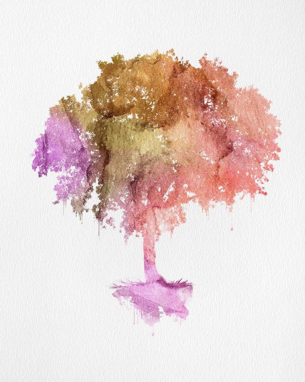Watercolor Tree Print | Colorful Nature Art Print or Poster | Watercolor Painting Print of a Tree | Fall Home Decor - Brandless Artist
