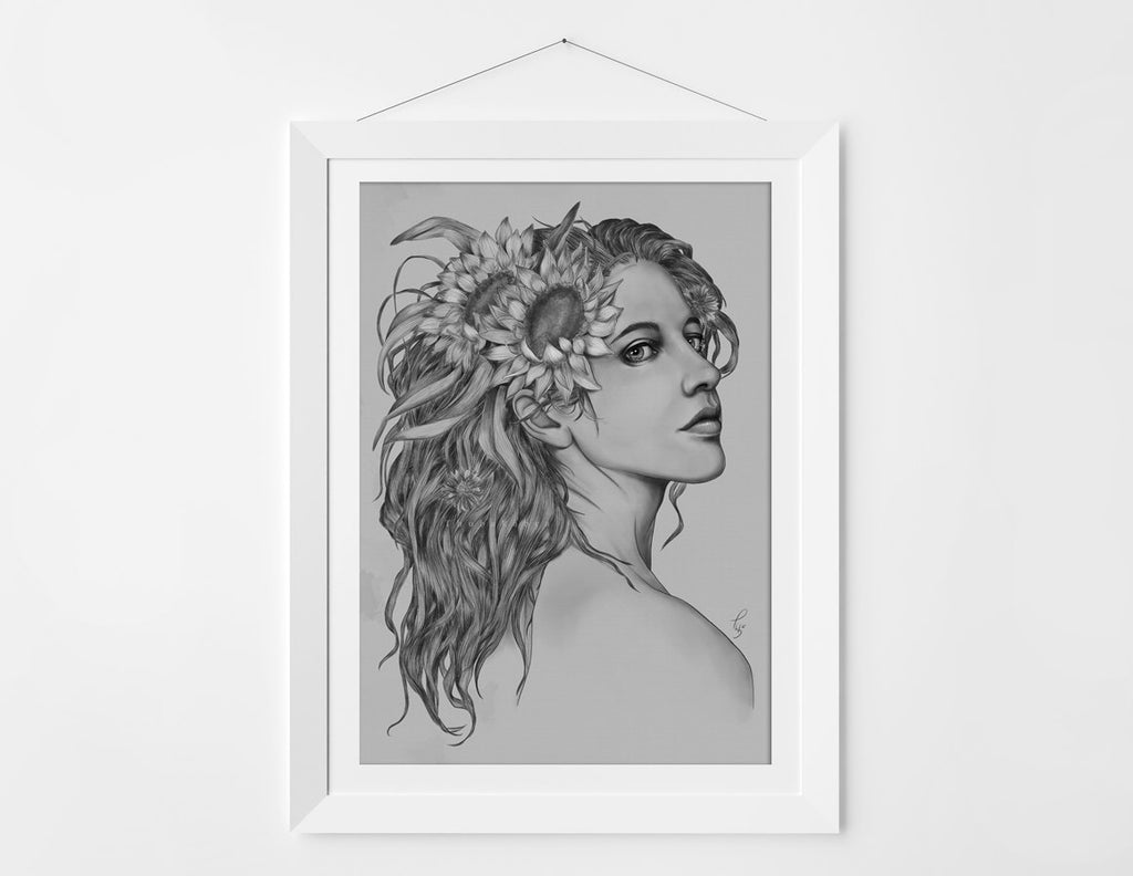ART Nouveau Print | Inspired Black and White Drawing | Surreal portrait of a Girl | Surreal Prints with Summer Flowers - Brandless Artist