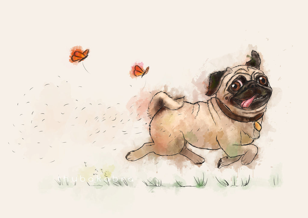 LARGE wall ART Funny Pug PRINT, Running Happy Pug Poster, Children's Illustration, Pugminator Watercolor Print, Decoration for Child's Room - Brandless Artist