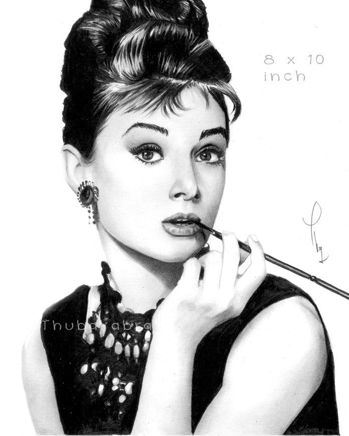 Audrey Wall Hanging in Black and White Pencil Drawing | Brandless Artist