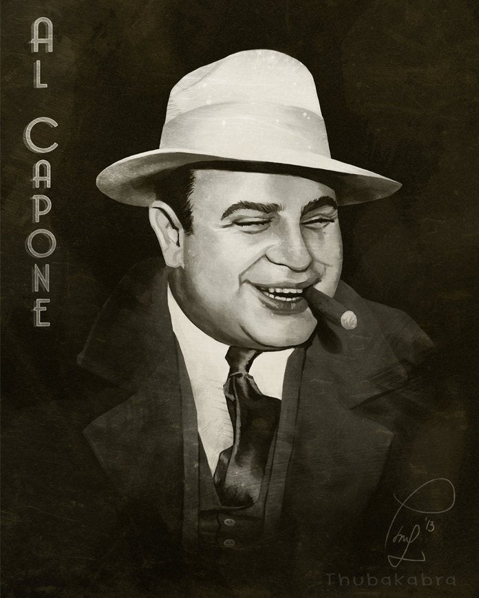 Al Capone Portrait Print Fanart Home Decor for Men in Sepia Color | Brandless Artist