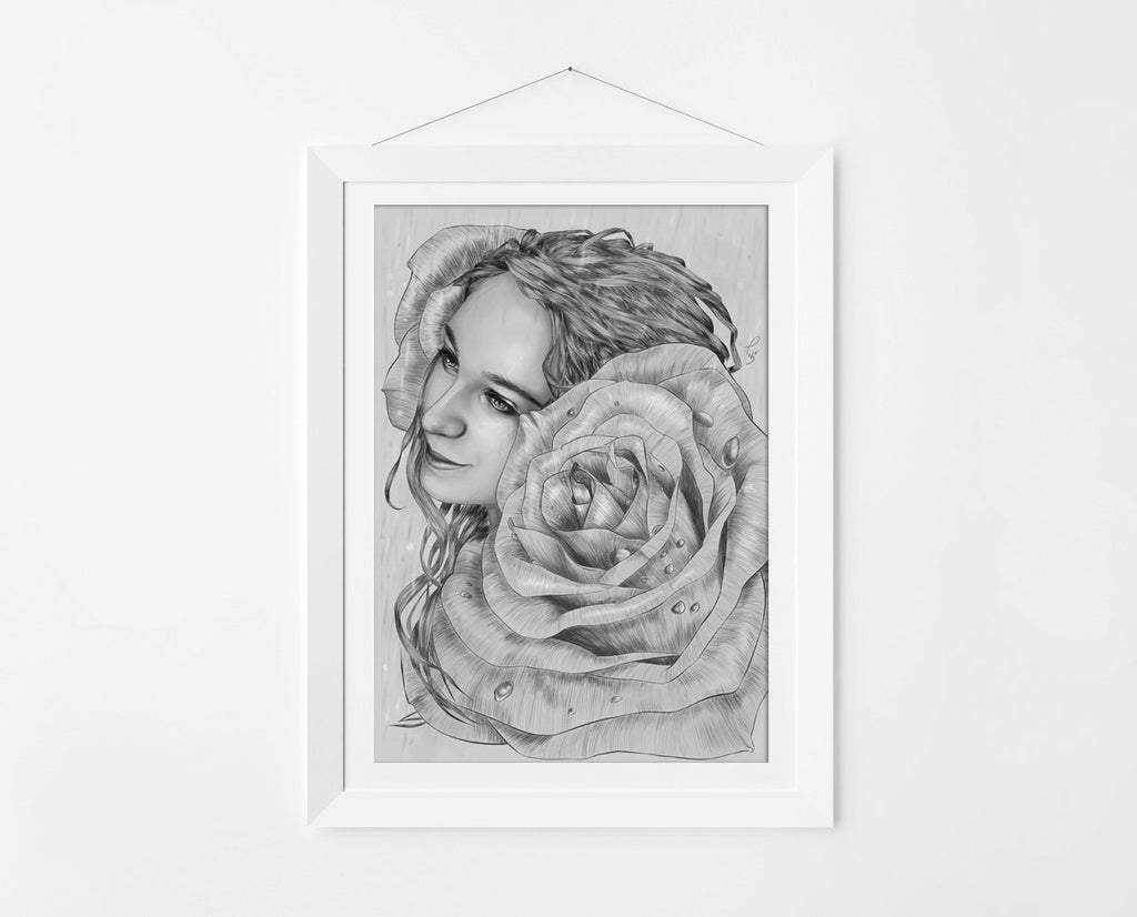 Surreal and Art Nouveau Girl Portrait Art Print by the Artist Thubakabra - Brandless Artist
