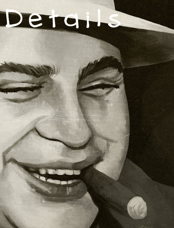 Mobster Print of Painting - Capone with Cigar Art Print Close Up | Brandless Artist