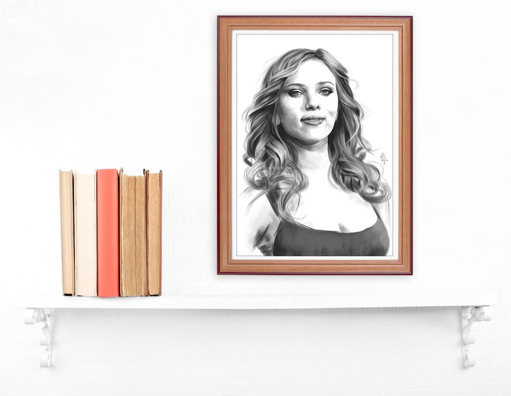 Scarlett Johansson LARGE wall art PRINT of minimalist digital painting, dynamic portrait fanart, fine wall art, sketchy portrait poster - Brandless Artist