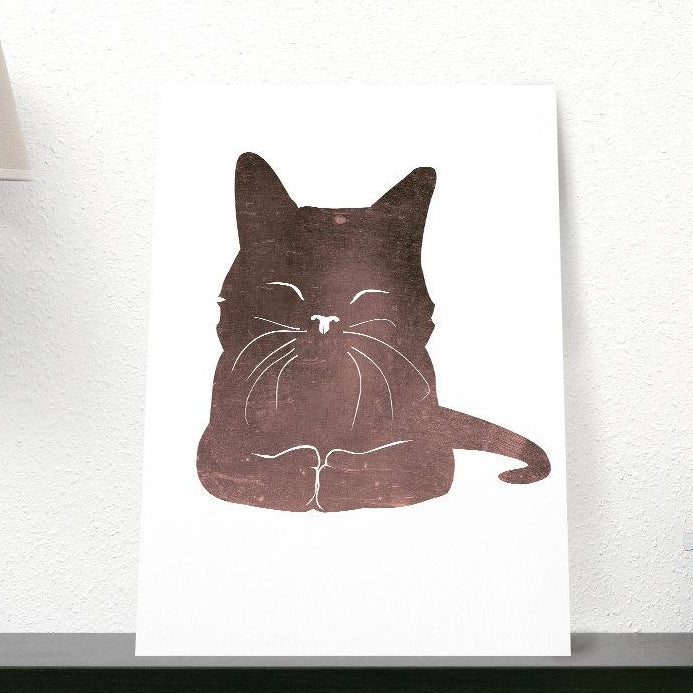 Happy Cat Print for Kids Room | Minimalist Cat Illustration Wall Art | Happy Kitten Wall Art for Cat Lovers | Poster for Kids - Brandless Artist