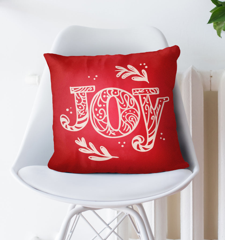 Joy Christmas Pillow - Red Merry Xmas Couch Decor | Brandless Artist