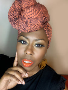 Julie By Design Burnt Orange/Black Headwrap and Vivid Dorothy lash combo