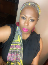 Julie By Design Yellow/Pink/Black Headwrap and Vivid Eartha lash combo