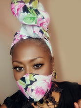 Julie By Design Black/Pink/Green Flowered Headwrap, Mask and Vivid Eartha lash combo