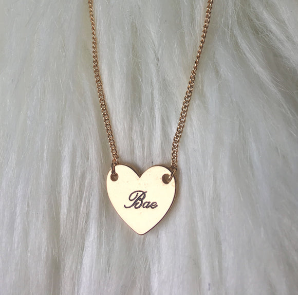 Gold - Bae Heart Pendant Necklace
