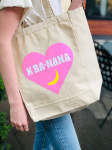 K Banana Canvas Tote Bag