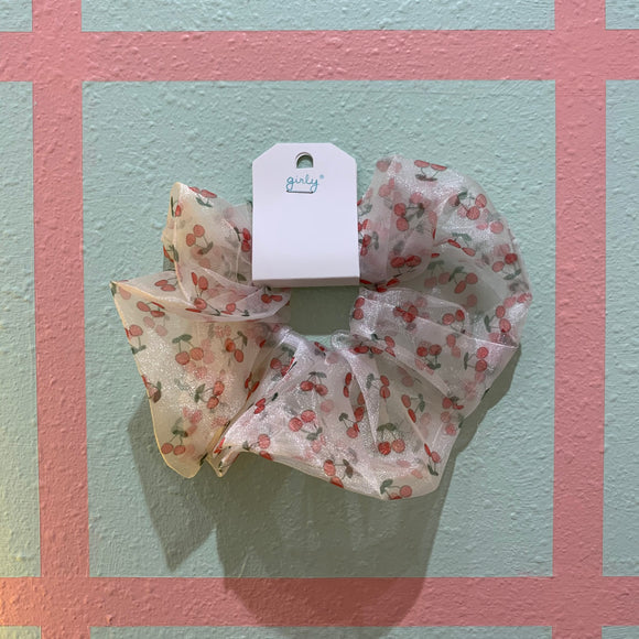 White Cherry Scrunchie
