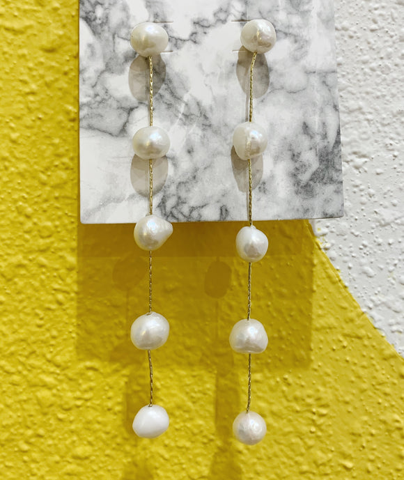 Long Dangly Pearl Earrings