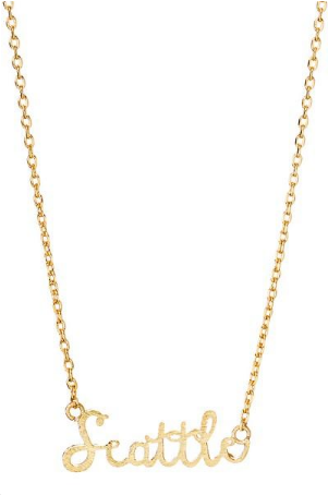 Gold - Seattle Script Necklace