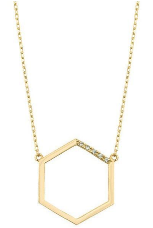 Gold Hexagon Pendent Necklace