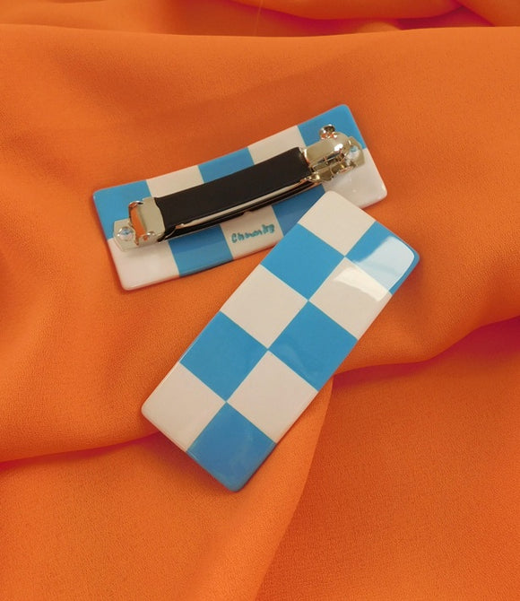 [Chunks] Blue + White Large Checkered Barrette