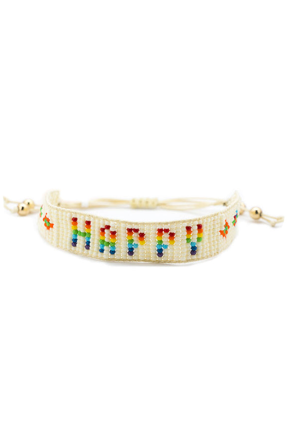 Seed Bead Happy Bracelet