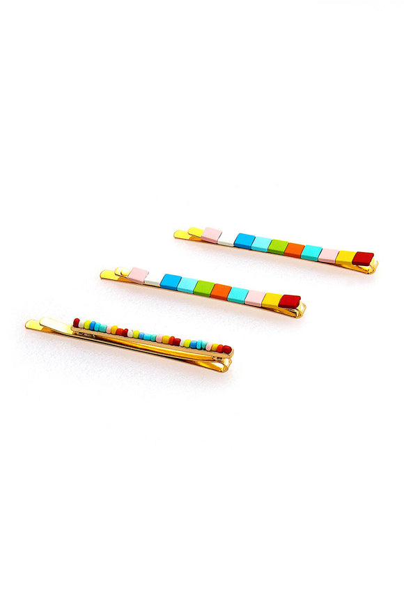 Cute Multi Hair Pin Rainbow Set