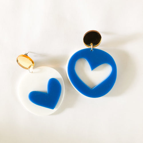 mis-matched LOVE FOOL candy dangles | bright BLUE