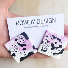 SUPER SALE | Square Disc Speckle Resin Stud Earrings - Pink + White with Black Speckle