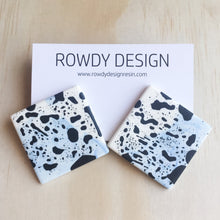 SUPER SALE | Square Disc Speckle Resin Stud Earrings - Blue Swirl with Black Speckle