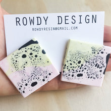 SUPER SALE | Square Disc Speckle Resin Stud Earrings - Pink + Avocado with Black Speckle