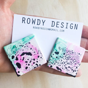 SUPER SALE | Square Disc Speckle Resin Stud Earrings - Pink + Green with Black Speckle