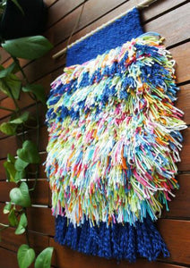 Shaggy Wall Hanging - Multi-Coloured with Navy Trim