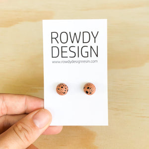 Dome Stud Earrings - Terracota with Black Speckle