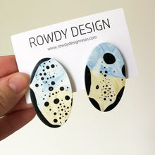 Speckle Oval Disc Resin Stud Earrings - Blue + Avocado Green with Black Speckle