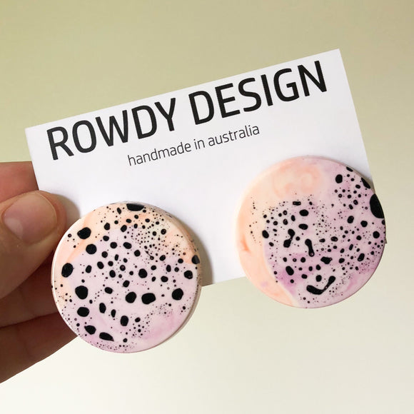 Smal Round Disc Resin Swirl Stud Earrings - Magenta + Pastel Orange with Black Speckle