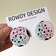 Smal Round Disc Resin Swirl Stud Earrings - Magenta + Pastel Blue with Black Speckle