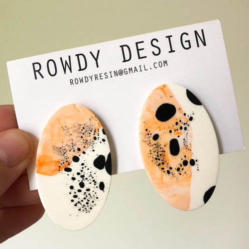 Speckle Oval Disc Resin Stud Earrings - Orange + White with Black Speckle