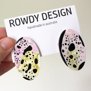 Speckle Oval Disc Resin Stud Earrings - Magenta + Avocado Green with Black Speckle