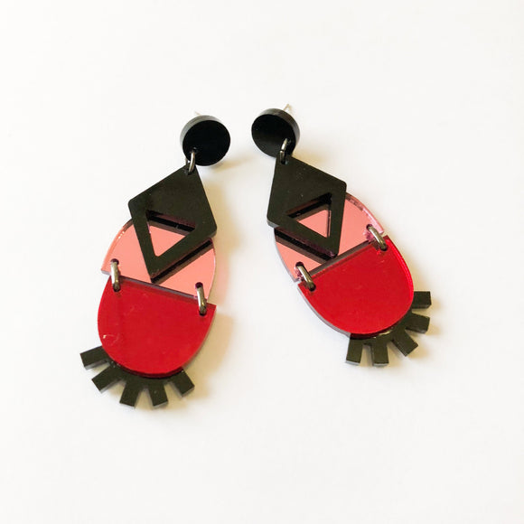 Mirror Eye Dangles | Pink, Red + Black