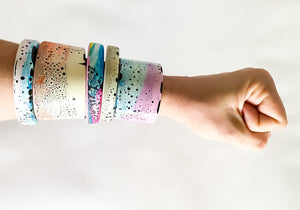 Oval Bangle - Pink + Blue with Speckle